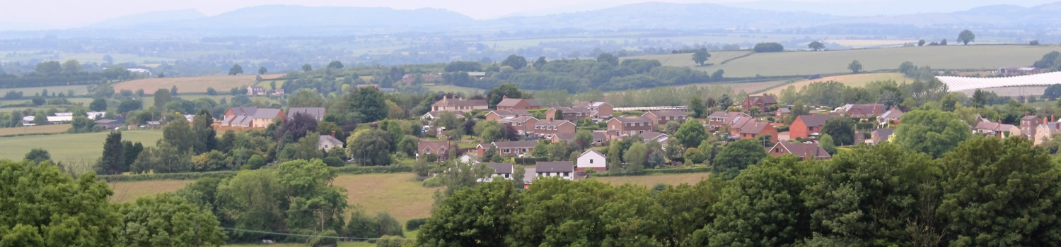 A view looking across the rooftops of Upton Bishop from Manor Road