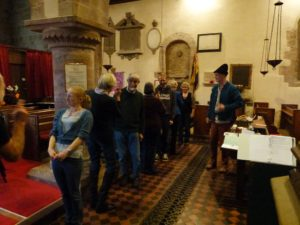 People standing inside the church