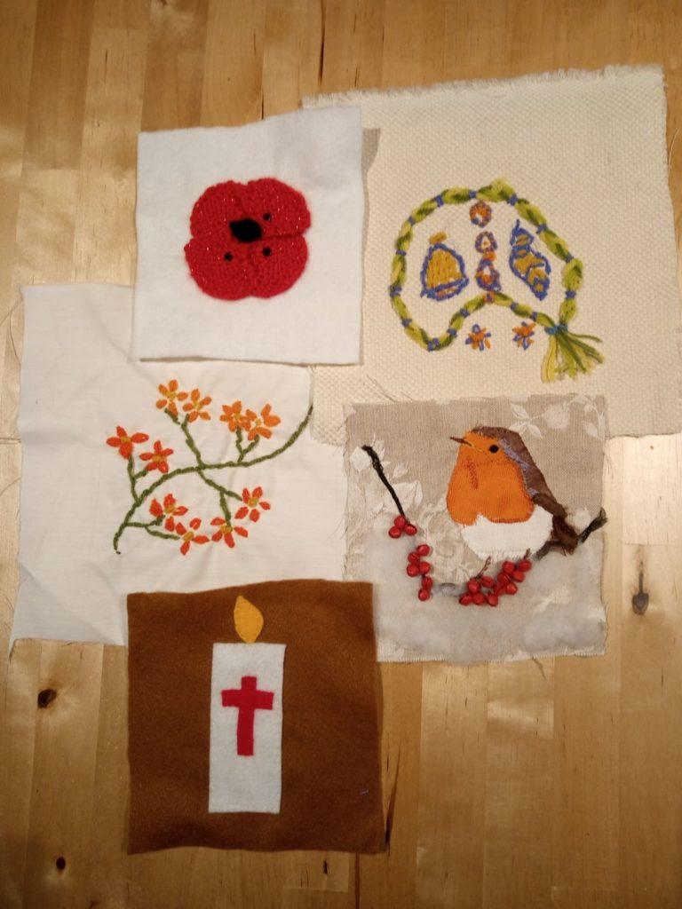 handmade fabric squares depicting autumn scenes